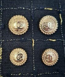 STAMPED VINTAGE CHANEL BUTTONS Set of 4 LOGO CC gold 20 mm $58.00