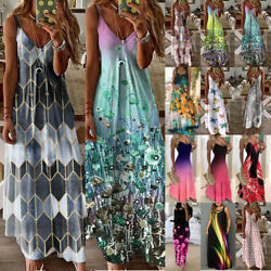 Women Summer Floral Long Dress Ladies Boho Beach Holiday Maxi Dress Plus Size $19.56