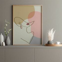Geometric Abstract Lady Face Canvas Poster Art Print Home Wall Living Room Decor $8.99
