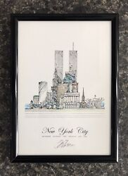 John Pils New York City 9 11 September 11 2001 Pencil Signed Framed Art Print $29.99