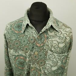 RETRO Vintage Cord Shirt Funky Hippy 1980s 1990s LOOSE BAGGY XL ABSTRACT GBP 28.00