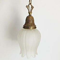 Antique Spanish Style Hanging Chandelier Bronze Gold Glass Made in Spain Light $99.99