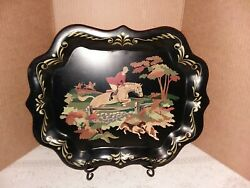 Vintage Tole Tray English Hunt Toleware Serving Horse Fox Hunting Hand Painted $55.85