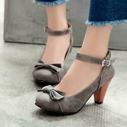 Women#x27;s Lolita Bowtie Kitten Heel Ankle Strap Mary Janes Party Shoes new $40.58