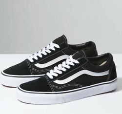 Vans Old Skool Black White Low Canvas Classic Skate Shoes NEW FREE SHIPPING $57.00