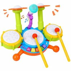 Rabing Kids Drum Set Electric Musical Instruments Toys with 2 Drum Sticks $42.35