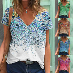 ⭐Summer Women Casual Floral Printed T Shirt Short Sleeve V Neck Blouse Loose Top $13.89