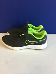 Nike Unisex Kids Star Runner Anthracite Electric Green White Sneakers Shoes 2.5Y $29.99