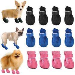 Pet Cat Puppy Dog Mesh Breathable Anti Slip Paw Protect Booties Shoes 4Pcs Set $7.69