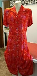 Womens Impressions Red Dress Button Down the Front Short Sleeve Casual Collar $19.95