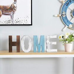 HOME Sign Wood Decor Cutout Letters Family Helf Rustic Signs Standing Home Decor $13.99