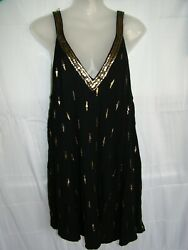 Free People Rayon Black Gold Sequence Short Party Summer Tunic Dress sz.M $24.95