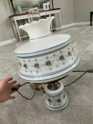 VINTAGE QUOIZEL ELECTRIC HANGING CEILING HURRICANE LAMP 3 WAY $144.95