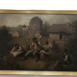 Large Victorian oil painting Gypsies Genre quot;The Violin Lessonquot; Mystery 19th $650.00