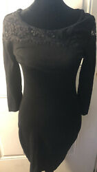 Express Women#x27;s Cocktail Black DressWith Lace Lined size SMALL $16.99