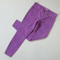 NWT J.Crew Factory Stretch Vintage Cord Toothpick in Purple Corduroy Pants 24 $18.99