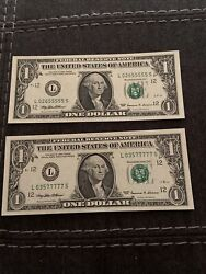 1999 1$ Federal Reserve note lot of 2 fancy serial #. Uncirculated $22.99