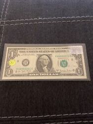 1977A 1$ Federal Reserve note fancy serial # H66666621C. Uncirculated $14.99