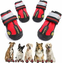 QUMY Dog Boots Waterproof Dog Shoes Dog Booties with Reflective Rugged $15.99
