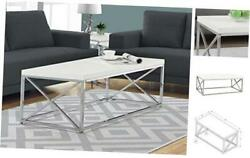 Modern for Living Room Center Table with Metal Coffee Table White Chrome $185.12