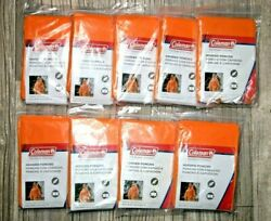 Lot Of 9 Coleman Emergency Hooded Poncho 50.5in X 40in Universal Size ORANGE $29.99