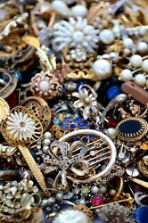 UNTESTED Jewelry Vintage Modern Huge Lot Junk Craft Box FULL POUNDS Pieces Parts $31.00