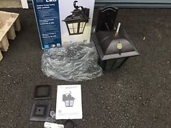 Altair LED Lantern Brushed Patina Finish Outdoor Clear Glass Water $18.98