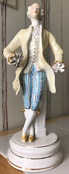 18th Century Man Gold Accents Porcelain Antique Figurine Statue Italy No Hands $19.99