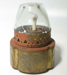 Vintage Opium Lamp Brass lamp cracked glass top Chinese Vietnamese Floral $30.00