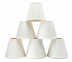 Small Lamp Shade Set of 6 Chandelier Shades 3quot; X 6quot; X 5quot; White Linen Clip On $42.91