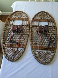 Vintage BEAR PAW SNOWSHOES WITH LEATHER BINDINGS MADE FROM MOOSE HIDE $105.00