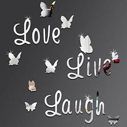 DIY Mirror Butterfly Stickers Silver Love Live Laugh Butterfly Wall Letters $7.07