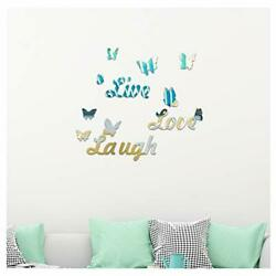Live Love Laugh 3D Acrylic Mirror Wall Stickers DIY Composed Wall Butterfly $10.42