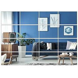 16 Pack Removable Mirror Wall Sticker Self Adhesive Square Mirror DIY Wall $16.23