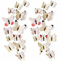 24pcs 3D Vivid Special Man Made Lively Butterfly Art DIY Decor Wall White2 $14.46