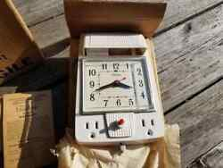 Vintage NOS 1950s Telechron Tel In Wall White Electric Wall Clock Model 1901 MCM $99.95