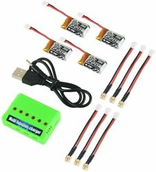 4pcs 1S 3.7V 220mAh LiPo Battery 35C with 6 in 1 Charger and Cable for E010 JJRC $17.99