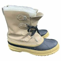 SOREL Caribou Womens Boots Leather Sherpa Lined Insulated Rubber Tan Size 10 $49.95