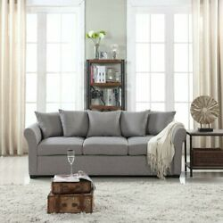 Modern Living Room Family Room Sofa Classic Fabric 3 Seat Couch Light Gray $209.99