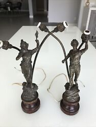 2 Vintage Lamps Metal from Germany Rare $115.00