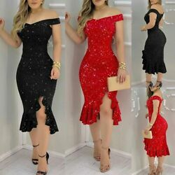 Women Sexy Slim Glitter Off Shoulder Ruffle Gown Bodycon Party Cocktail Dresses $8.99