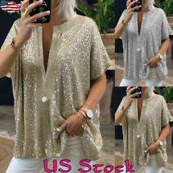 Women Sequin Short Sleeve V Neck T Shirt Blouse Casual Party Plus Size Loose Top $14.68