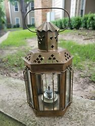 Vintage Brass and Glass Oil Lantern Light with Handle 13quot; Tall by 6 1 2quot; Wide $90.00