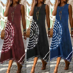 Women Casual Loose Long Maxi Summer Casual Dress Sleeveless Party Cocktail Dress $18.61