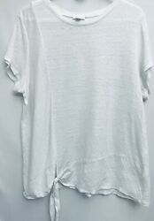 J. Jill Womens size Large Twist Knot Tunic White Love Linen Casual Active $30.00