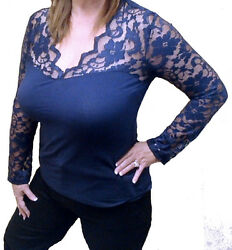 Plus Size Navy Womens Low Cut Scallop Lace Long Sleeve V Neck Blouse Top 1X $15.88