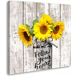 Sunflower Decor Rustic Home Kitchen Bathroom Country for The Home Farmhouse Wall $21.10