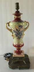 Antique Hand painted Gold Leaf and Floral Porcelain Lamp on Brass Base Fish Feet $59.00
