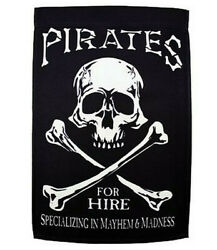 Flappin#x27; Flags House Flag: Pirates For Hire Pole Sleeved Banner: 12 x 18 in. $14.99