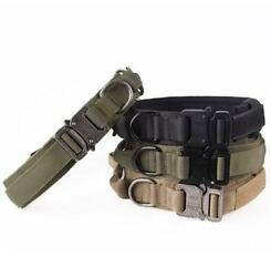 Tactical Military K9 Dog Training Collar with Metal Buckle for L Dog Heavy Duty $14.50
